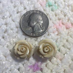 Betsey Johnson Creme Rose Earrings